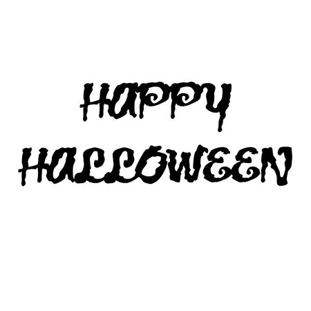 Happy Halloween text isolated on a white background. Calligraphy vector illustration Archivio Fotografico - 130779784