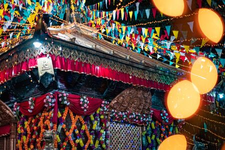 Kathmandu, Nepal - October 2 2019: Hindu Temple decorated with lights for Diwali Festival