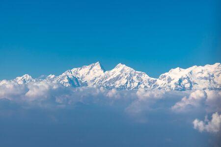 Himalaya range seen from the window seat of a plane