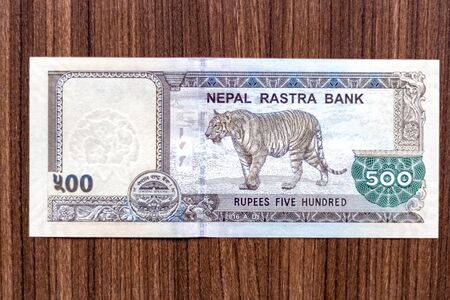 Nepali bank note or Nepali currency of Rupees 500 denomination top down view Banco de Imagens