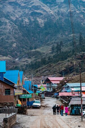 Dolakha, Nepal - April 14 2019: A small tourist village in Nepal