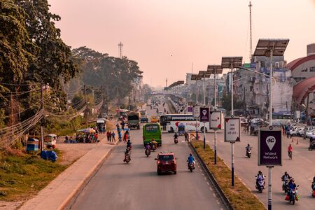 Butwal, Nepal - October 27 2019: Busy downtown street of Butwal city in Nepal.