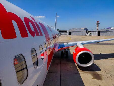 Bangkok, Thailand - November 30 2019: Thai Lion Airway preparing for take off