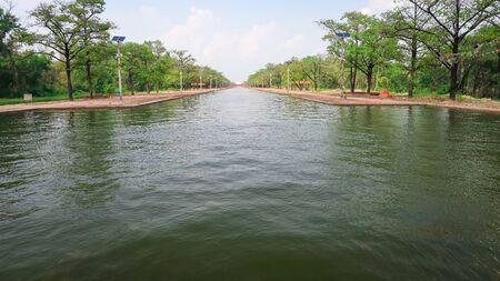 Master canal waterway at Lumbini premises in Nepal. Фото со стока