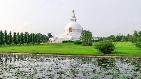 Majestic World Peace Stupa in Lumbini, Nepal.