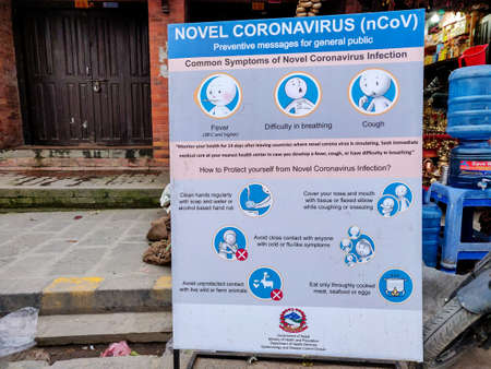 Kathmandu, Nepal - March 4 2020: Flex Board with diagrams and message regarding the preventive measures from COVID-19 nCoV Corona Virus placed at a public place for general public.