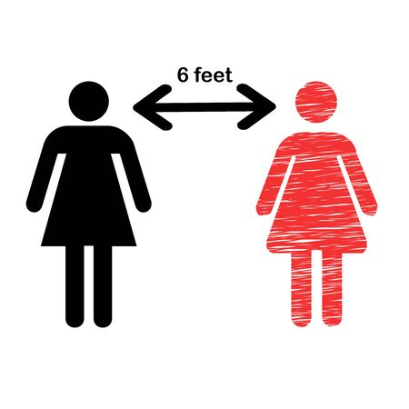 Social Distancing Icon Vector Illustration . Maintain 6 feet distance from people concept