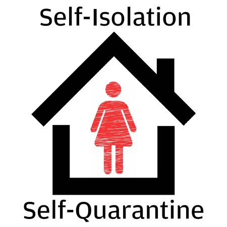 Self isolation quarantine concept. Stay inside home vector illustration