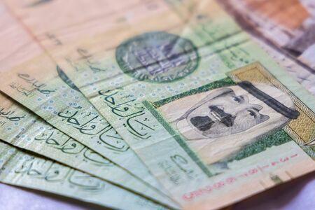 Closeup Saudia Arab Riyal Bank Notes. King of KSA.