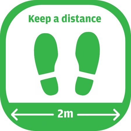 Warning sign sticker reminding the importance of keeping the 1 m distance between people to protect from Coronavirus or Covid-19, Vector illustration of feet step keep a safe social distancing