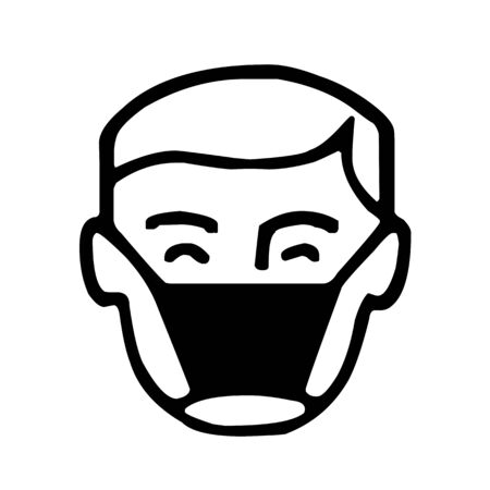 Man with face mask icon vector illustration
