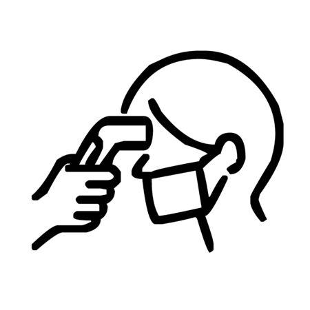Fieberkontrolle mit Thermopistolen-Symbol-Vektor-Illustration Vektorgrafik