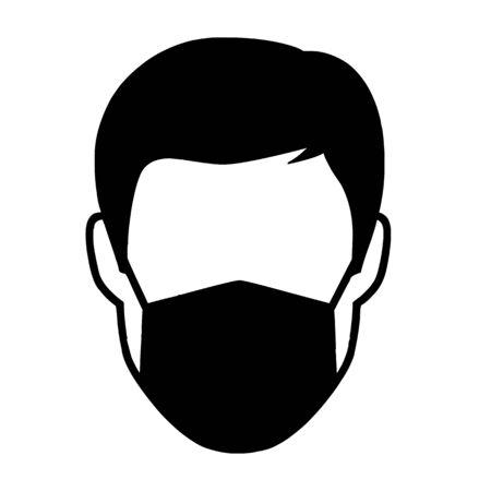 Homme avec masque facial icône illustration vectorielle