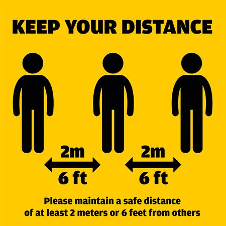 Social Distancing Message. Keep a safe distance vector illustration