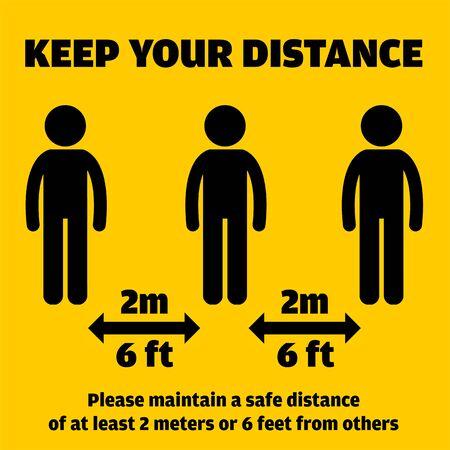 Social Distancing Message. Keep a safe distance vector illustration