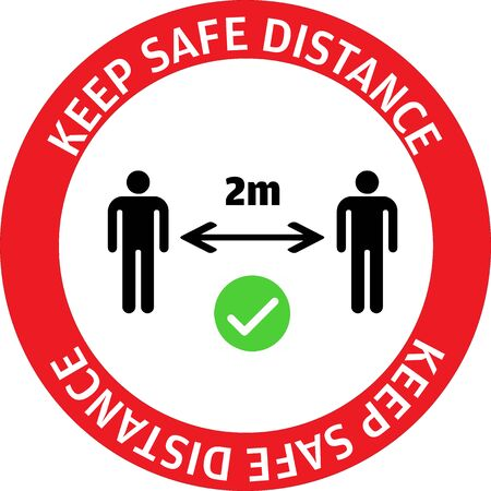 Warning sign sticker reminding the importance of maintaining safe distance of 2m between people to protect from Coronavirus or Covid-19, Vector illustration of people standing at 2m keep apart.