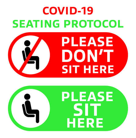 Printable : COVID-19 Seating protocol for restaurants, shopping centers, and public places. Encouraging people to practice social distancing with pictograms. 向量圖像