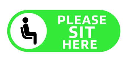 Please Sit Here signage inside green circle vector illustration Ilustración de vector