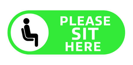 Please Sit Here signage inside green circle vector illustration