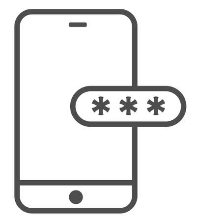 Mockup phone with encrypted password authentication. Two Factor Authentication or Multifactor Authentication or One Time Password OTP icon.