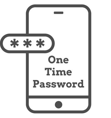 Mockup phone with encrypted password authentication. Two Factor Authentication or Multi Factor Authentication or One Time Password OTP icon. 矢量图像