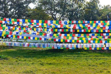 Colorful Prayer Flags. Tibetan Prayer flags with Buddhist scripts.
