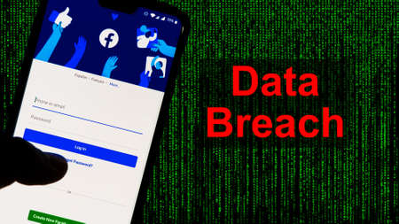 Facebook App aginst Leak text in red and Matrix-style green background. 533 Million Facebook User's personal information has been leaked online on Saturday
