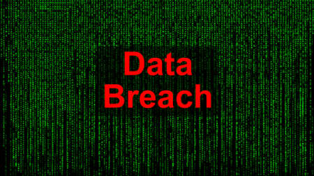 Data Breach. Red text with Data Breach against matrix-style green text background