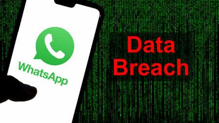 Kathmandu, Nepal - April 13 2021: WhatsApp logo on a smartphone against green text in the background. Publikacyjne