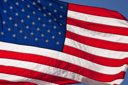 A close up of a of Old Glory waving in the wind. Stock Photo - 5106635