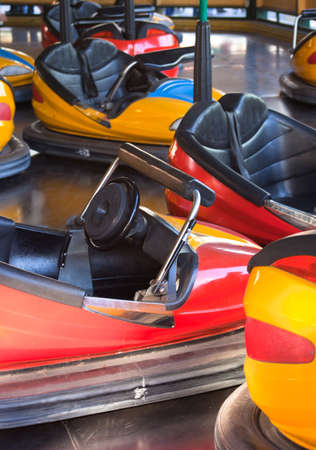A shot of a bunch of bumper cars.