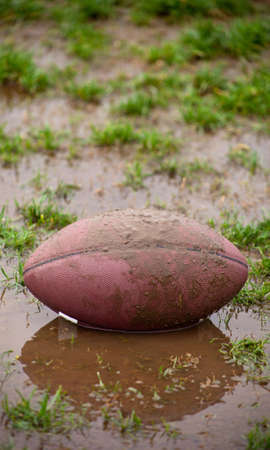 A close up of a football sitting in muddy water and grass.