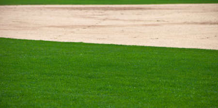 outfield: A shot of a baseball infield and outfield. Stock Photo