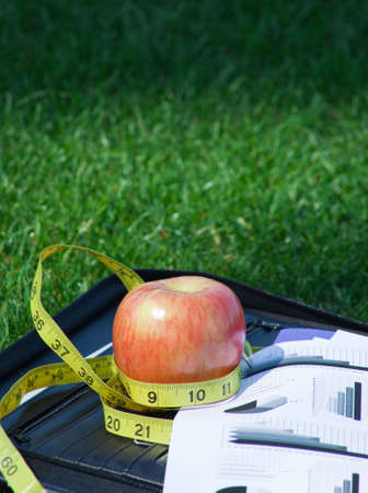 A close up of a black leather folder with a bussiness graph and a red apple with a yellow tape measure sittting on green grass. photo
