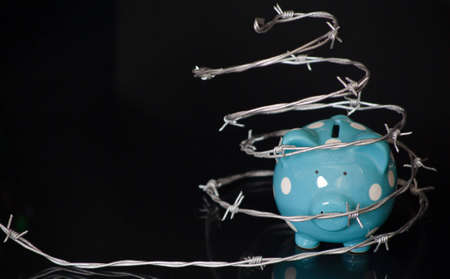 A close up of a blue piggy bank surrounded by barbed wire with a black background. photo