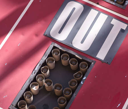 A close up of a baseball scoreboard, showing the word out. Stock Photo - 6975273