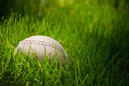 softball: A close up de una pelota suave vieja rodar a trav�s de hierba verde alta.