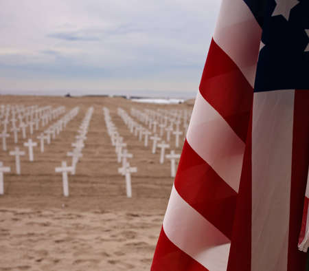A shot of crosses on a beach to honor US service men and women. Stock Photo - 8392798