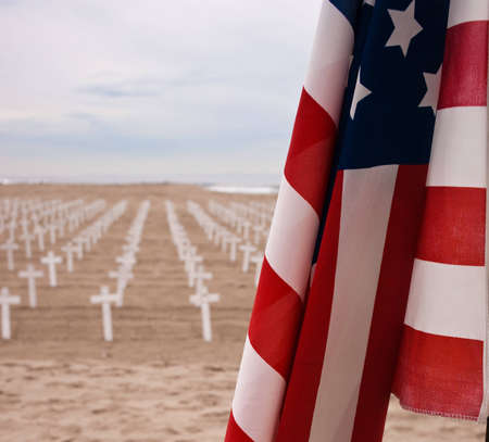 A shot of crosses on a beach to honor US service men and women. Stock Photo - 8392820