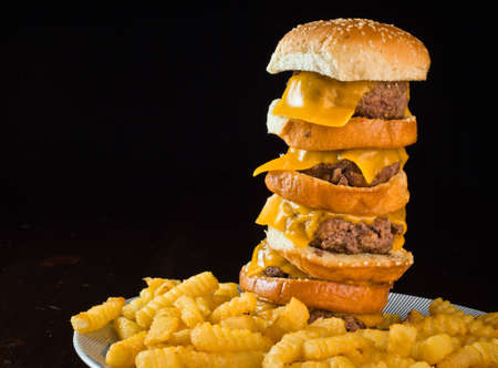 A close up of a five patty cheese burger with fries. Stock Photo - 9857324
