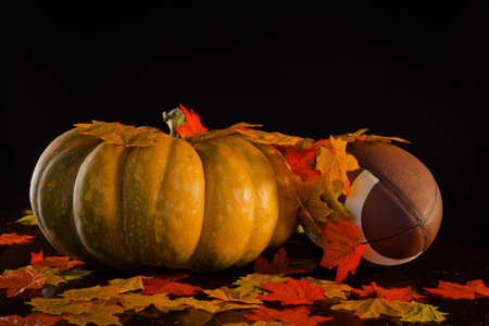A studio shot of a pumpkin and a football with fall leaves. Stock Photo - 10828449