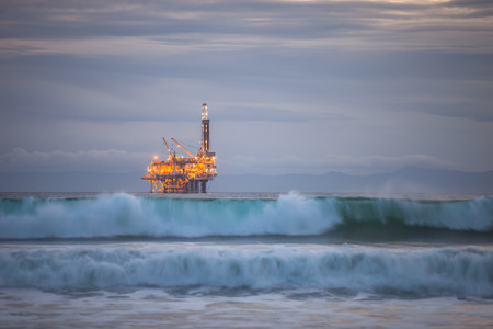 A close up shot of a oil rig just off Huntington Beach.