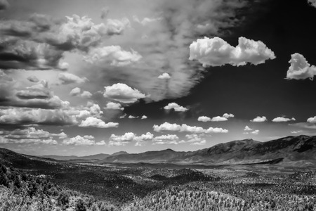 A wide black and white shot looking back into Payson Airzona  Banque d'images