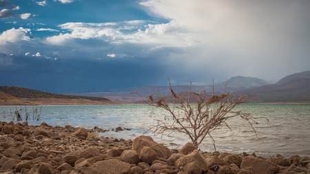 A wide shot of an approaching monsoon over Lake Roosevelt in Arizona