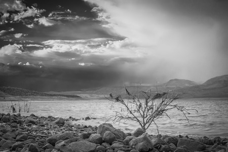 A black and white shot of an approaching monsoon over Lake Roosevelt in Arizona