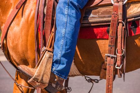 A close up of a cowboy