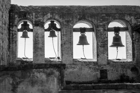 A shot looking at the bells at  San Juan Capistrano Mission.