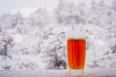 A close up of an ice cold beer sitting on a snow covered railing. Banque d'images