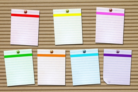 set of seven days colored note papers  photo
