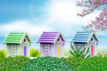bird house: Colorful bird houses  Stock Photo